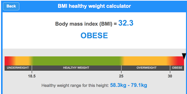 BMI of 32.3 on 8 July 2015
