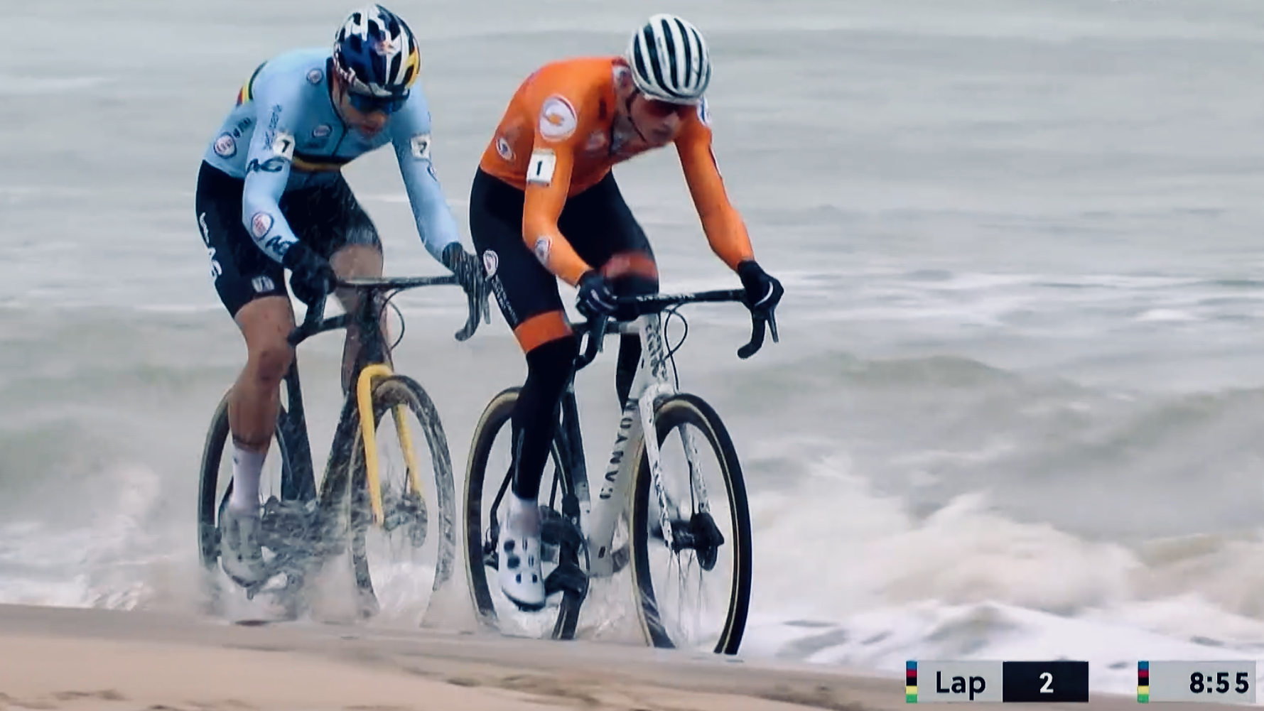 Dutch and Belgian cyclists racing through the waves
